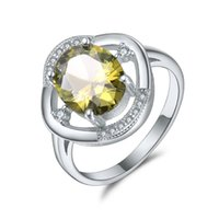Wholesale Olive Platinum - Star Cluster Ring Jewel Inlaid Jewelry Woman Olive Zirconium Yellow 18K Platinum Party Fashion Annivers Gemstoneary