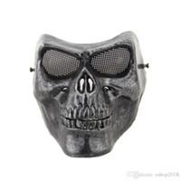 Wholesale terror mask face for sale - Full face silver masquerade Airsoft mascara terror Skull mask Warrior armor carnival Paintball biker mask scary Halloween Horror Mask
