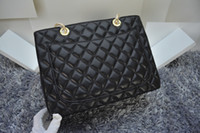 Wholesale Sholder Bag Leather - High quality classic Black GST Bag Lambskin Leather 50995 Grand Shopping Tote Large Sholder Bag