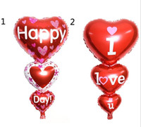 Wholesale I Balloons - 2 Sizes Baloon Big I Love You ang Happy Day Balloons Party Decoration Heart Engagement Anniversary Weddings Valentine Balloons G924