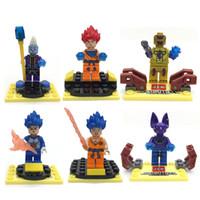 Wholesale Dragon Ball Son Goku - 6pcs Dragon Ball Z Resurrection F Building Block Toys Virus Wish Goku Ssjdios Freeza Vegeta Son Goku Mini Action Figures