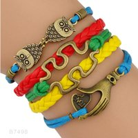 Wholesale Jigsaw Wholesalers - Owl Hamsa Hand Love Heart JigSaw Puzzle Piece Autism Awareness Owls Alloy Charm Wrap Bracelets For Women Men Leather Wax Fashion Gift Custom
