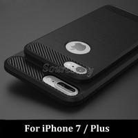 iphone6 kılıfı fırçalanmış toptan satış-Iphone7 için i7 artı TPU Yumuşak Arka Kapak Kılıf Galaxy S7 S7 Kenar J7 iphone6 Karbon Fiber Fırçalanmış Sağlam Zırh telefon Kabuk