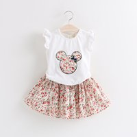 Wholesale Coats Skirts - Summer baby girl T-shirt+skirt set 2 pieces children floral clothes suit Child Clothes Kids Clothing 5 s l