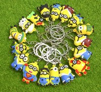 Wholesale 3d Minion Keyring - 3D Cartoon Minions Toy Key Ring Despicable Me Mini Minion Keychains Doll Kids Toys LED Light Voice Keyring Men Trinkets Charms