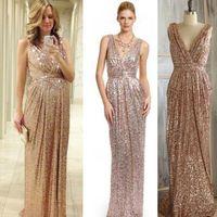 Wholesale Plus Size Silver Sparkle Dress - 2016 Rose Gold Bridesmaid dress Long Gold Sequin Prom dress Metallic Sparkle Evening dress, V neck back Luxury full length 6905