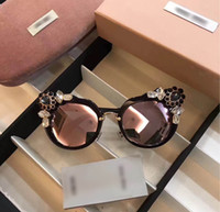 Wholesale Water Drop Frame - Fashion Women Luxury Catworm Drop Water Diamond Sunglasses Designer Ladies Crystal Transparent Reflective UVA Sunglasses SMU04S With Case