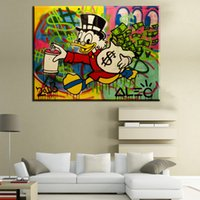 Wholesale Funny Figures - ZZ253 canvas oil painting Alec monopoly Duck funny art poster Canvas painting Living Room decoration Street art Richie
