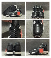 Venda Por Atacado New Arrival 2017 Air Retro 4 Oreo Blacktech Cinzento-Preto Homens e mulheres Basketball Shoes Best Real Leather Hot Mais recente Desconto