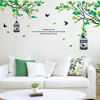 Wholesale Tree Birdcages Sticker - New Green Tree Birdcage Birds Picture Wall Poster Background Wall Sticker Art Wall Sticker Home Decor adesivi parete E5M1 order<$18no track