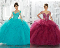 Wholesale orange color art - Custom Made Quinceanera Dresses Lace Applique Sequins Long Sleeve Blue Ball Gown Tulle Sweet 15 Gowns Plus Size
