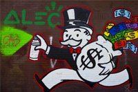Wholesale Oil Painting Hand Bag - New Design! Money Bag ,High Quality genuine Hand Painted Modern Wall Decor Alec Monopoly Pop Art Oil Painting On Canvas in any custom size,
