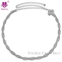 Wholesale Rhinestone Belt Cross - 2016 Fashion Silver Metal Plate Mosaic bling Rhinestone Cross Adjustable Waist Belly Chain Belts For Women Dress Handmade BL-815