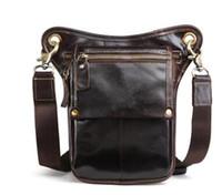 sacs en cuir de vachette achat en gros de-Vente chaude Top Qualité Véritable Vraie Peau de Vache Hommes Vintage Messenger Bag Taille Pack Jambe Sac