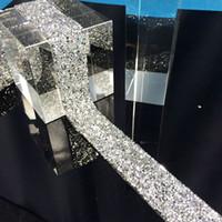 decoração nupcial de strass venda por atacado-Novo cristal de strass prata banding aparando, 1 jardas / lote, largura de 3 cm, claro ab nupcial vestido de cinto de strass, casamento decoração de bandas