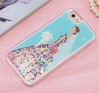 Wholesale Iphone Case Adorable - Liquid Quicksand Wedding dress Bling Case For iphone 6 6s Plus Adorable flowing Floating Moving Shine Glitter Hard Case For iPhone 5 5s