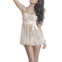 Wholesale See Through Nightgown Woman - Wholesale- Sexy Women Foral Lace Nightwear Lingerie Underwear Sleepwear Soft Pajama Sets Babydoll G-String See Through Nightgown D6
