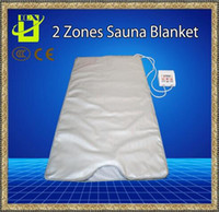 Wholesale Infrared Blanket Therapy - The Best quality INFRARED SAUNA BLANKET 2 ZONE FIR FAR SLIMMING heating SPA Therapy WEIGHT LOSS PORTABLE DETOX Beauty Equipment Ray Heat NEW