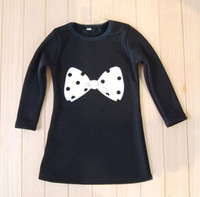 Wholesale Baby Warmer Tutus - Winter baby kids dress long sleeve bowknot dress warm thickening black color 100% cotton free shipping