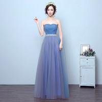 Wholesale Tube Top Dinner Dresses - Robe Blue Tube Top Tulle Floor Length Prom Dinner Dress 2017 New Quality Pleats Bride Toast Strapless Formal Evening Dress Tailor Made