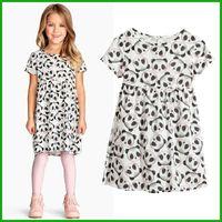 Wholesale Girls Panda Dress - 2016 new fashional high quality summer girls vestido one-pieceshort sleeve dresses panda print factory cheap price