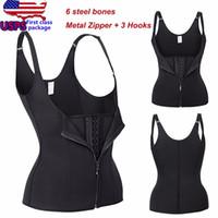 Wholesale corset metal - Wholesale- Adjustable Strap Waist Trainer Vest Corset Women METAL Zipper With 3Hooks Body Shaper Waist Cincher Tummy Control Corset