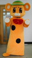 Wholesale Mouse Costume For Sale - SX0724 Good vision and good Ventilation an orange mouse mascot costume with a green hat for sale