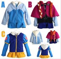 Wholesale Coat Kids Down Jacket 5pcs - 2016 Cartoon Frozen Autumn Winter Children Zipper Hooded Coat Girl Fashion Jackets Outwear With Braid Kids Clothing 110-150cm 5pcs lot
