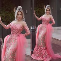 Wholesale watermelon art - Saudi Arabic Watermelon Evening Dresses Long Sleeves Illusion Neck 3D Appliques Mermaid Evening Gowns with Detachable Train Tulle Dress