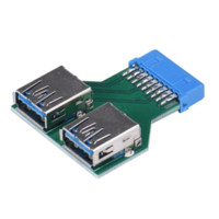 Wholesale Usb 19pin - Mecall Motherboard 19Pin Header To 2 Ports USB 3.0 A Female HUB Adapter Connector Cheap connector panel