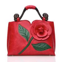 ingrosso borse di fiori 3d-Borse di cuoio genuini di lusso 100% borse famose di marca del progettista delle donne borse di borsa a tracolla della borsa del fiore delle signore 3D di alta qualità