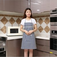 Wholesale Fabric Bibs - Kitchen Apron Adult Cook Waiter Linen Stripe Bib Apron with Pockets Chef Waiter Kitchen Cook Tool Household Cleaning Accessories