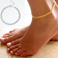 Wholesale Charming Feet - Ladies Silver Gold Ankle Bracelet Chain Adjustable Anklet Foot Charm Snake Chain