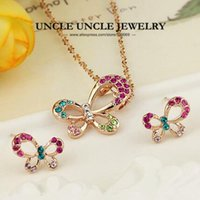 Rose Gold Color Multicolor Rhinestones Setting Lovely Butterfly Design Lady Jewelry Set brincos / colar atacado