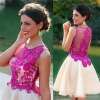 Discount jewel neckline homecoming dress - Sheer 3D Floral Appliques Homecoming Dresses Jewel Neckline Sleeveless Prom Gowns Short Length Fuchsia Fashion Evening Cocktail Dress