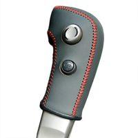 ingrosso copertura auto automatica-Custodia per Nissan Tiida vecchio modello cambio automatico Shift Knob Cover in vera pelle fai da te marcia copertine in pelle accessori per auto cuciti a mano