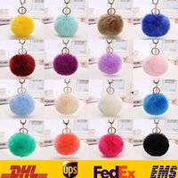 Wholesale Cell Phone Jewelry Charms - Charm Cell Phone Car Keychain Pendant Handbag Key Ring Fake Rabbit Fur Ball Keychain Jewelry Toys Gifts For 8CM And 10CM HH-K01