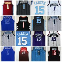 Top Quality # 1 Tracy McGrady Jersey Throwback North Carolina # 15 Vince Carter College Basket Jersey 2017 Nuovo Blu Viola Nero Bianco
