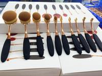 Wholesale Gold Toothbrush - 10pcs Oval Toothbrush Shape Makeup Brush Gold Black Foundation Powder Mermaid Multipupose Brush Beauty Cosmetic Brush Sets Kits Professional