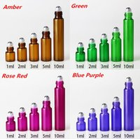 Wholesale Green Glass Roll Bottles - Amazing Arrival !!! 1ml 2ml 3ml 5ml 10ml Colored Glass Roll On Bottles Green Red Purple Brown Roller Bottles with SS Ball Black Lids