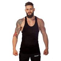 Wholesale Thin Modal Tops - Wholesale- Fitness!Solid Color Thin Straps Tank Top Men Sleeveless Shirt Bodybuilding Stringer Fitness Men's Cotton Vest AXD1550