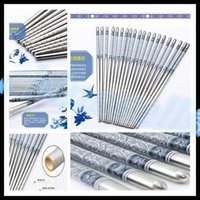 Wholesale Blue Porcelain Dinnerware - home kitchen dinnerware stainless steel non-slip chopsticks blue and white porcelain Chinese Chopsticks Kitchen Rrestaurant chopsticks