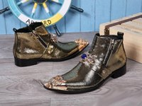 Wholesale Postal Shoes - Men's fashion designer high pointed toe shoes trends metal charm rivet Martin boots postal 2 color and ankle boot