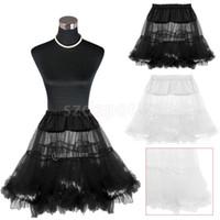 Wholesale Rock Roll Skirts - Vintage Lady Net Roll Rock Petticoat Underskirt for Tutu Skirt Fancy Black White