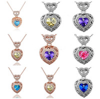 Wholesale Heart Shaped Watch Necklace - 18K gold-plated fashion retro hollow crystal heart-shaped necklace watch the constellation necklace YP078 Arts and Crafts pendant with chain