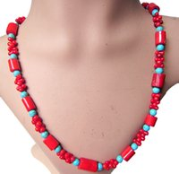 Sexy Women Hot Party Chokers Stement Handmade Strings Necklace Beads Imiatation Red Coral Charm Girl Colar Colar Jóias