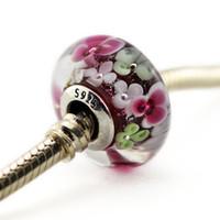 yazlık kolye toptan satış-Murano Cam Boncuk 100% 925 ayar gümüş boncuk Pandora Takı Bilezikler Kolye diyt uyar Avrupa tarzı 2019 YENI yaz
