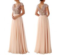 Wholesale Long Blush Chiffon Gowns - 2016 New Blush Sequins Bridesmaid Dresse V Neck Cap Sleeve Pleats Floor Length Chiffon Beach Maid of Honor Wedding Guest Party Gowns Cheap