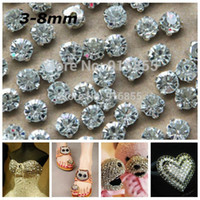 Wholesale Rhinestone Sew 8mm - Free Shipping SS12-38(3-8mm) Silver Plated Craft Loose Crystal Sew on Rhinestone Beads For DIY Decoration Wedding Decoration