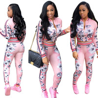 Wholesale Autumn Clothing For Women - Autumn Suit-dress Printing Long Sleeve women cardigan sports sportwear woman hoodies sets Printed tops Print tracksuit for jogging clothes